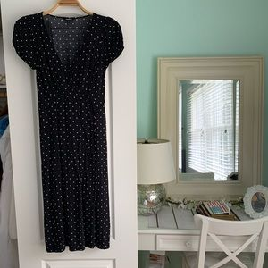 Polka dot wrap dress with puff sleeves